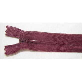 Zips krytý nedeliteľný 45cm bordový tmavý