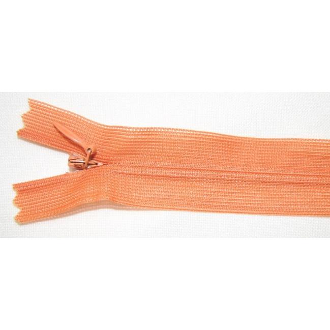 Zips krytý nedeliteľný 45cm oranžový
