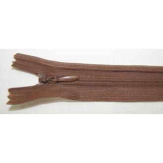 Zips krytý nedeliteľný 50cm tmavo hnedý