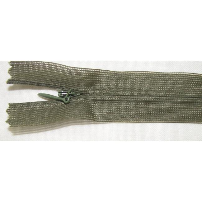 Zips krytý nedeliteľný 50cm tmavo zelená