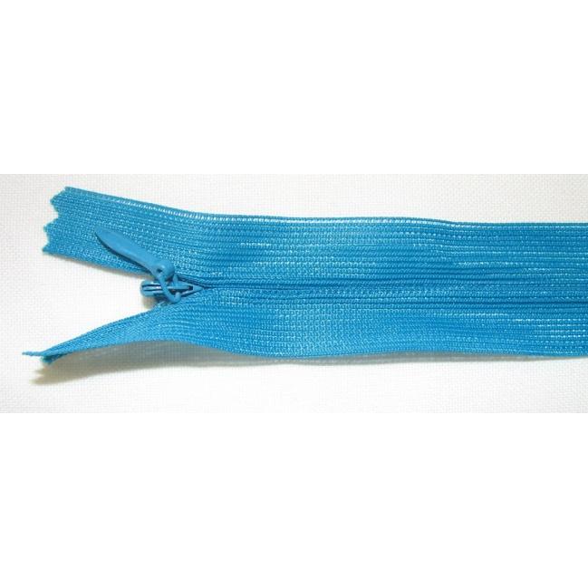 Zips krytý nedeliteľný 50cm tmavý tyrkys
