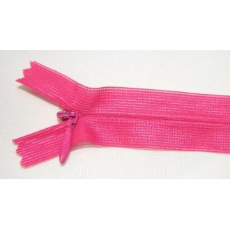 Zips krytý nedeliteľný 50cm cyklamenová