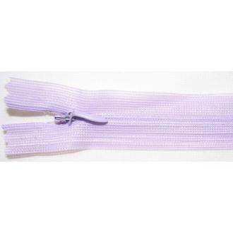 Zips krytý nedeliteľný 50cm bledo fialová
