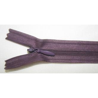 Zips krytý nedeliteľný 50cm tmavá fialová
