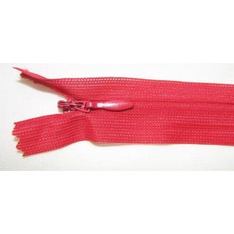 Zips krytý nedeliteľný 50cm červený
