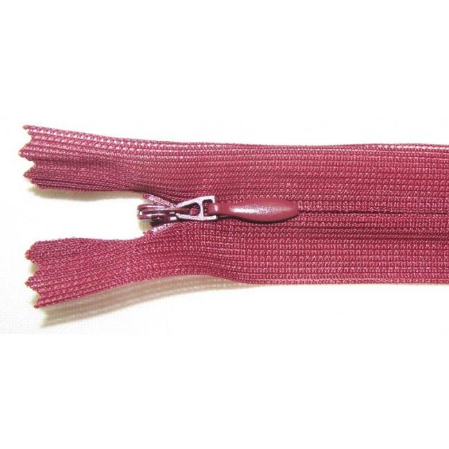 Zips krytý nedeliteľný 50cm bordový