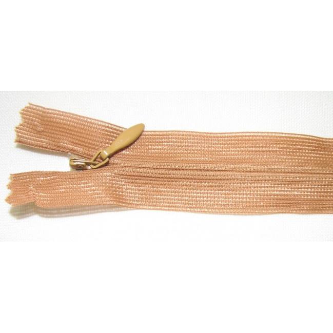 Zips krytý nedeliteľný 55cm bledý škoricový
