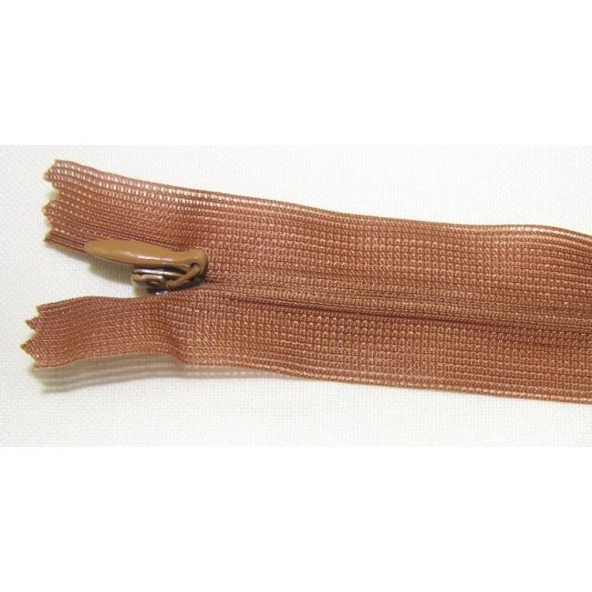 Zips krytý nedeliteľný 55cm tmavší škoricový