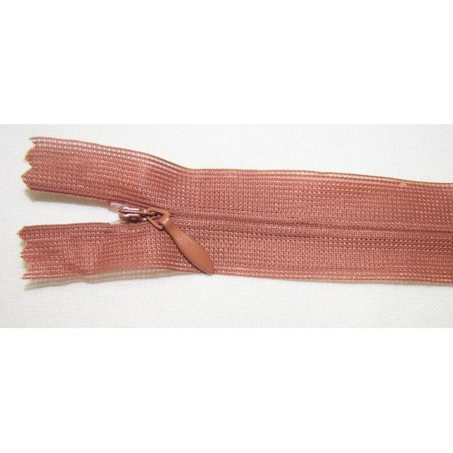 Zips krytý nedeliteľný 55cm tehlová