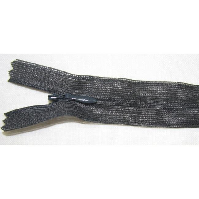 Zips krytý nedeliteľný 55cm tmavo šedá
