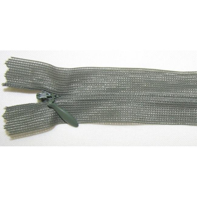 Zips krytý nedeliteľný 55cm tmavo zelená