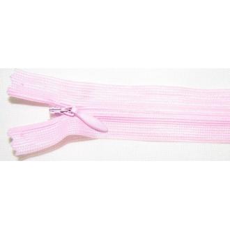 Zips krytý nedeliteľný 55cm bledá ružová