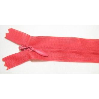 Zips krytý nedeliteľný 55cm bledá červená