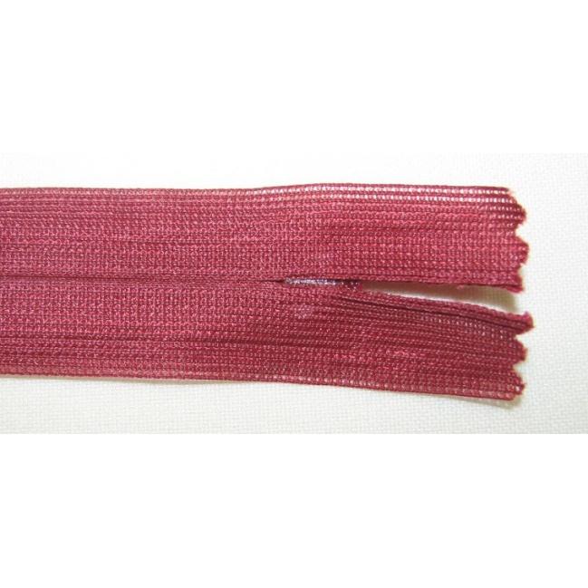 Zips krytý nedeliteľný 55cm bordová