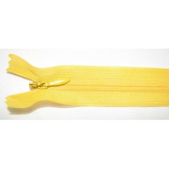 Zips krytý nedeliteľný 55cm žltá