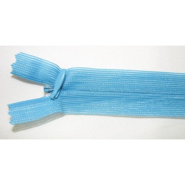 Zips krytý nedeliteľný 60cm tyrkys