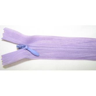 Zips krytý nedeliteľný 60cm bledo fialová
