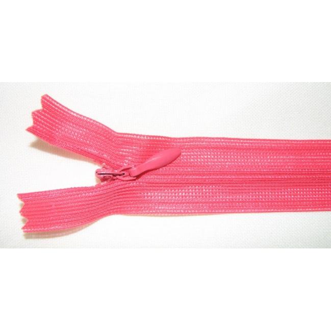 Zips krytý nedeliteľný 60cm neónová ružová