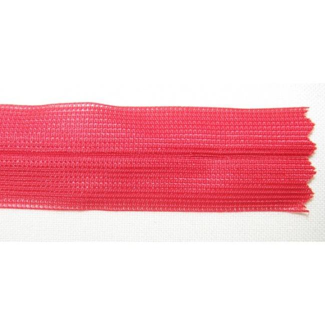 Zips krytý nedeliteľný 60cm červená